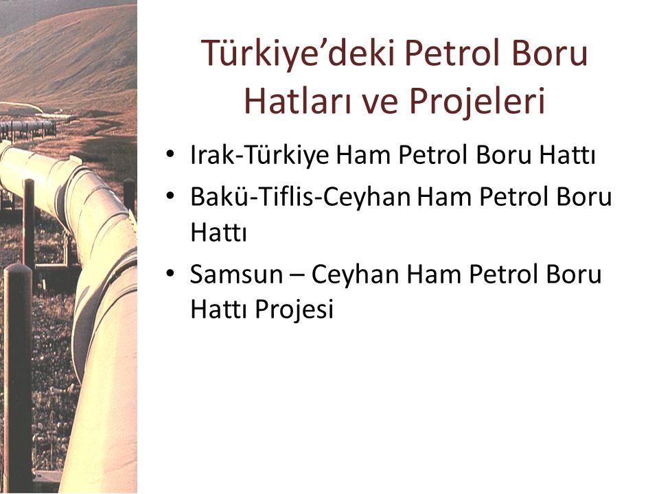 Türkiye'deki Petrol Boru Hatları ve Projeleri Irak-Türkiye Ham Petrol Boru Hattı Bakü-Tiflis-Ceyhan Ham Petrol Boru Hattı Samsun – Ceyhan Ham Petrol B