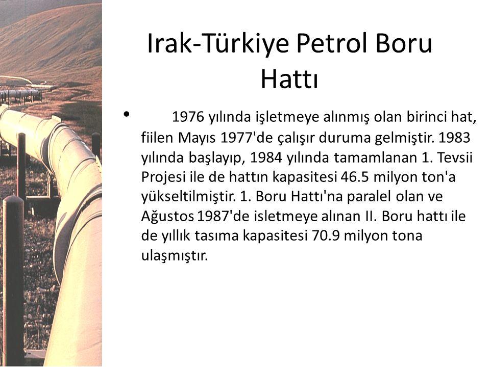 Irak-Türkiye Petrol Boru Hattı 1976 yılında işletmeye alınmış olan birinci hat, fiilen Mayıs 1977'de çalışır duruma gelmiştir. 1983 yılında başlayıp,