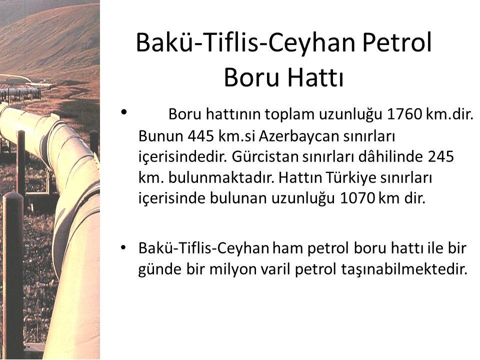 Bakü-Tiflis-Ceyhan Petrol Boru Hattı Boru hattının toplam uzunluğu 1760 km.dir. Bunun 445 km.si Azerbaycan sınırları içerisindedir. Gürcistan sınırlar