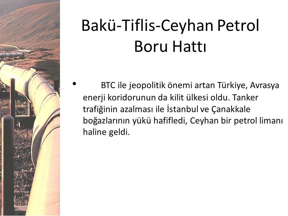 Bakü-Tiflis-Ceyhan Petrol Boru Hattı BTC ile jeopolitik önemi artan Türkiye, Avrasya enerji koridorunun da kilit ülkesi oldu. Tanker trafiğinin azalma