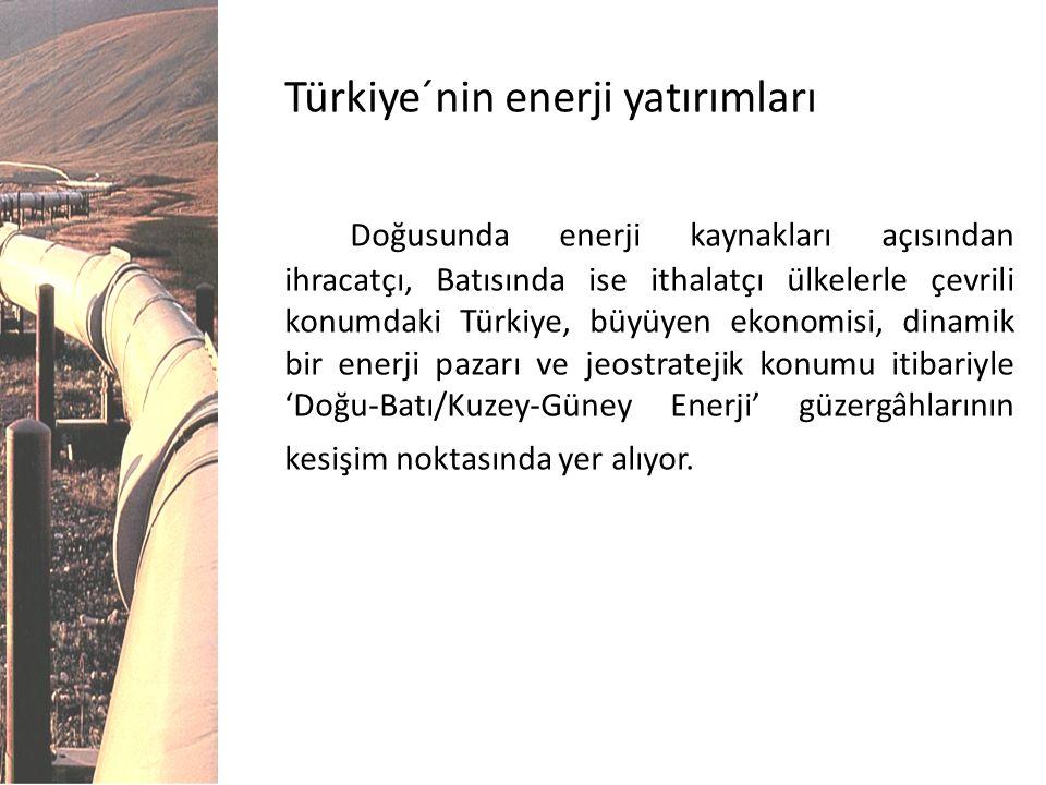 Türkiye´nin enerji yatırımları Doğusunda enerji kaynakları açısından ihracatçı, Batısında ise ithalatçı ülkelerle çevrili konumdaki Türkiye, büyüyen e