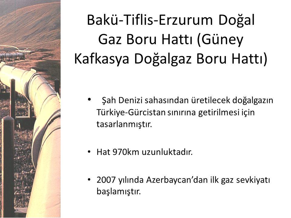 Bakü-Tiflis-Erzurum Doğal Gaz Boru Hattı (Güney Kafkasya Doğalgaz Boru Hattı) Şah Denizi sahasından üretilecek doğalgazın Türkiye-Gürcistan sınırına g