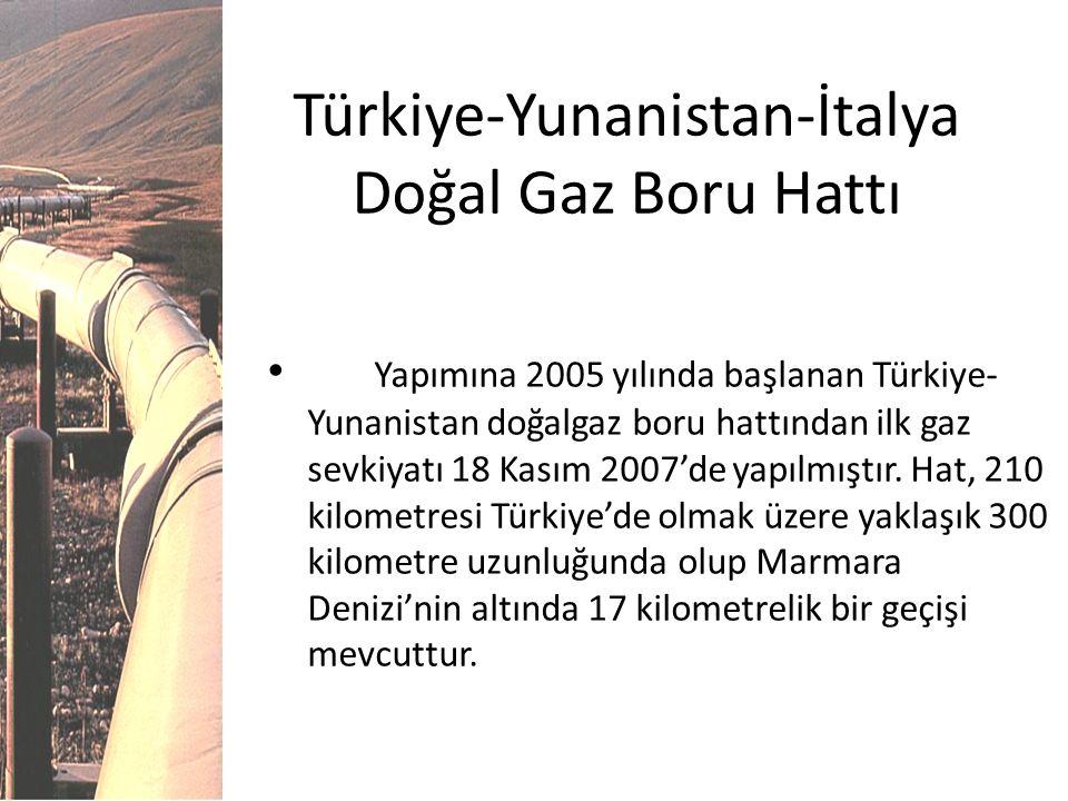 Türkiye-Yunanistan-İtalya Doğal Gaz Boru Hattı Yapımına 2005 yılında başlanan Türkiye- Yunanistan doğalgaz boru hattından ilk gaz sevkiyatı 18 Kasım 2