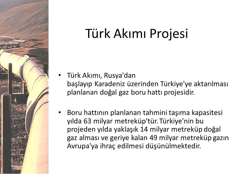 Türk Akımı Projesi Türk Akımı, Rusya'dan başlayıp Karadeniz üzerinden Türkiye'ye aktarılması planlanan doğal gaz boru hattı projesidir. Boru hattının