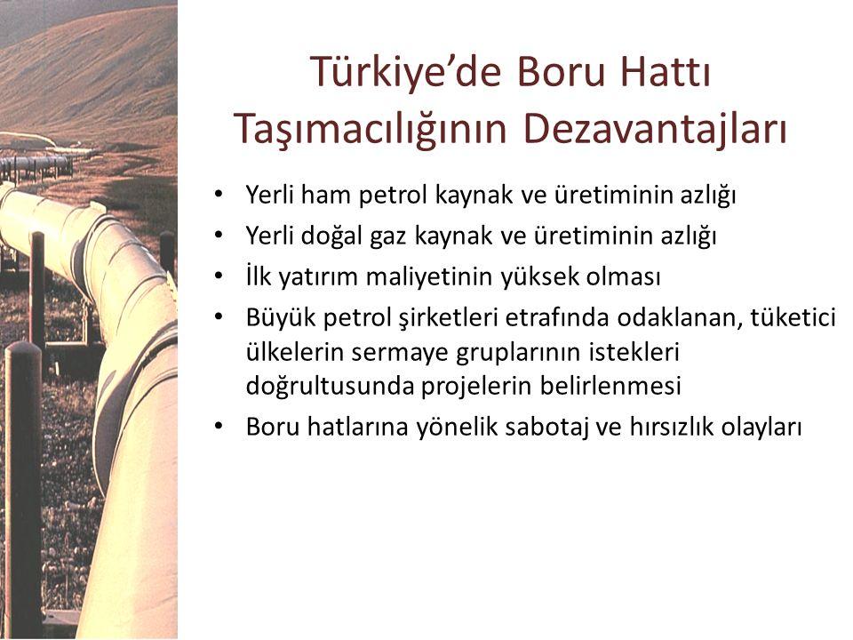 Türkiye'de Boru Hattı Taşımacılığının Dezavantajları Yerli ham petrol kaynak ve üretiminin azlığı Yerli doğal gaz kaynak ve üretiminin azlığı İlk yatı