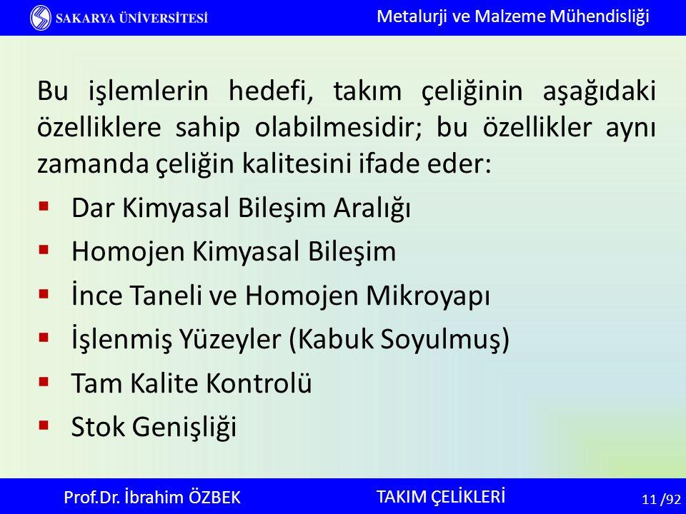 11 11 /92 TAKIM ÇELİKLERİ Metalurji ve Malzeme Mühendisliği Prof.Dr. İbrahim ÖZBEK Bu işlemlerin hedefi, takım çeliğinin aşağıdaki özelliklere sahip o