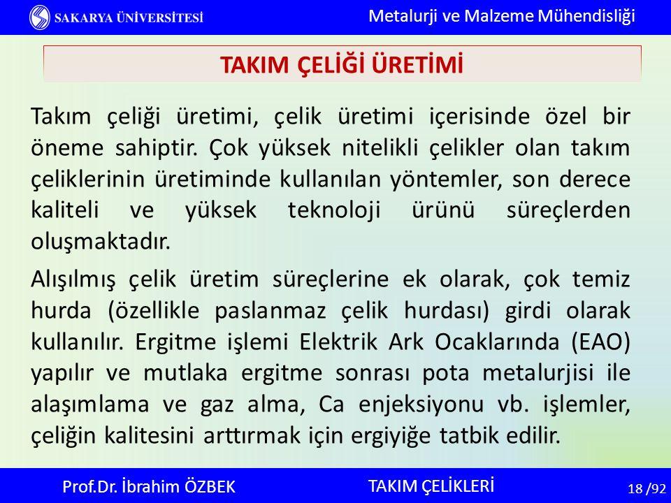 18 18 /92 TAKIM ÇELİKLERİ Metalurji ve Malzeme Mühendisliği Prof.Dr. İbrahim ÖZBEK TAKIM ÇELİĞİ ÜRETİMİ Takım çeliği üretimi, çelik üretimi içerisinde