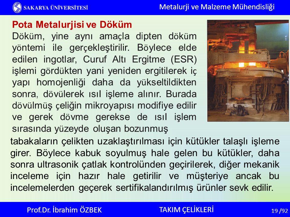 19 19 /92 TAKIM ÇELİKLERİ Metalurji ve Malzeme Mühendisliği Prof.Dr. İbrahim ÖZBEK Pota Metalurjisi ve Döküm D ö k ü m, yine aynı ama ç la dipten d ö