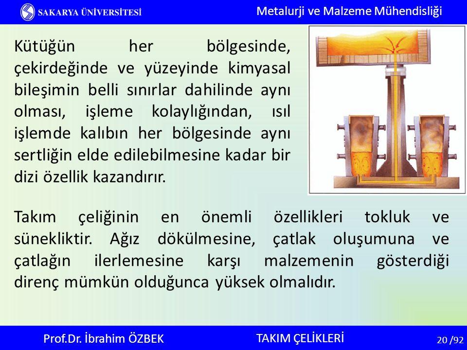 20 20 /92 TAKIM ÇELİKLERİ Metalurji ve Malzeme Mühendisliği Prof.Dr. İbrahim ÖZBEK Kütüğün her bölgesinde, çekirdeğinde ve yüzeyinde kimyasal bileşimi