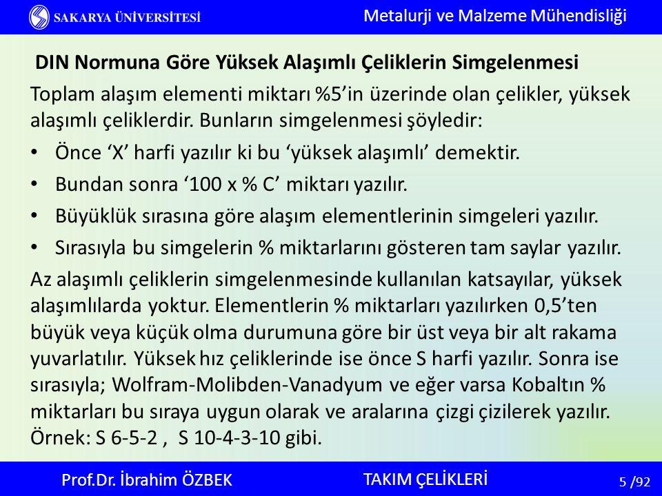 56 56 /92 Alaşımsız Soğuk İş Takım Çelikleri: Sınıflandırma C oranına göre yapılıyor.