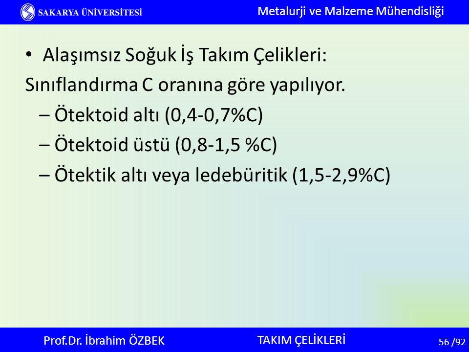 56 56 /92 Alaşımsız Soğuk İş Takım Çelikleri: Sınıflandırma C oranına göre yapılıyor. – Ötektoid altı (0,4-0,7%C) – Ötektoid üstü (0,8-1,5 %C) – Ötekt