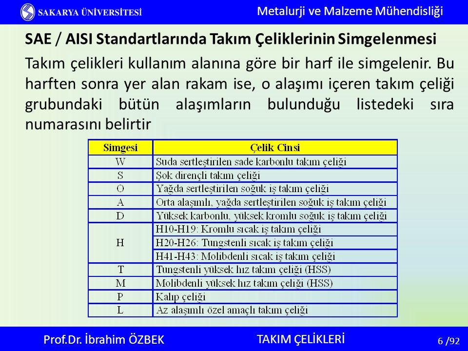 6 6 /92 TAKIM ÇELİKLERİ Metalurji ve Malzeme Mühendisliği Prof.Dr. İbrahim ÖZBEK SAE / AISI Standartlarında Takım Çeliklerinin Simgelenmesi Takım çeli