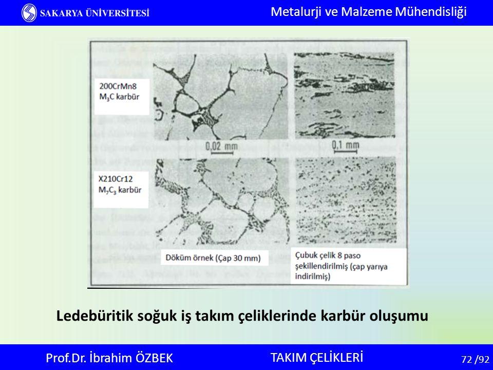72 72 /92 TAKIM ÇELİKLERİ Metalurji ve Malzeme Mühendisliği Prof.Dr. İbrahim ÖZBEK Ledebüritik soğuk iş takım çeliklerinde karbür oluşumu