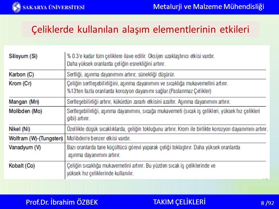 8 8 /92 TAKIM ÇELİKLERİ Metalurji ve Malzeme Mühendisliği Prof.Dr. İbrahim ÖZBEK Çeliklerde kullanılan alaşım elementlerinin etkileri