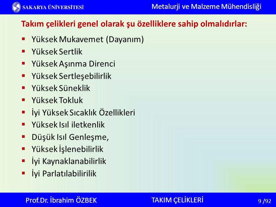30 30 /92 TAKIM ÇELİKLERİ Metalurji ve Malzeme Mühendisliği Prof.Dr.