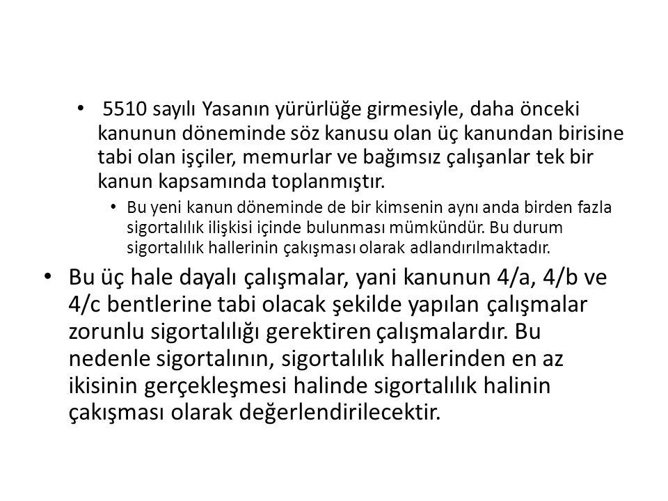 A-) Zorunlu Sigortalılık Hallerinin Çakışması 1-Genel olarak 5510 sayılı kanunla birlikte, 506 sayılı kanun döneminde bulunan farklı sigorta kanunlarına tabi olarak çalışanlar tek kanunda toplanmış ve 5510 sayılı kanunun 4.