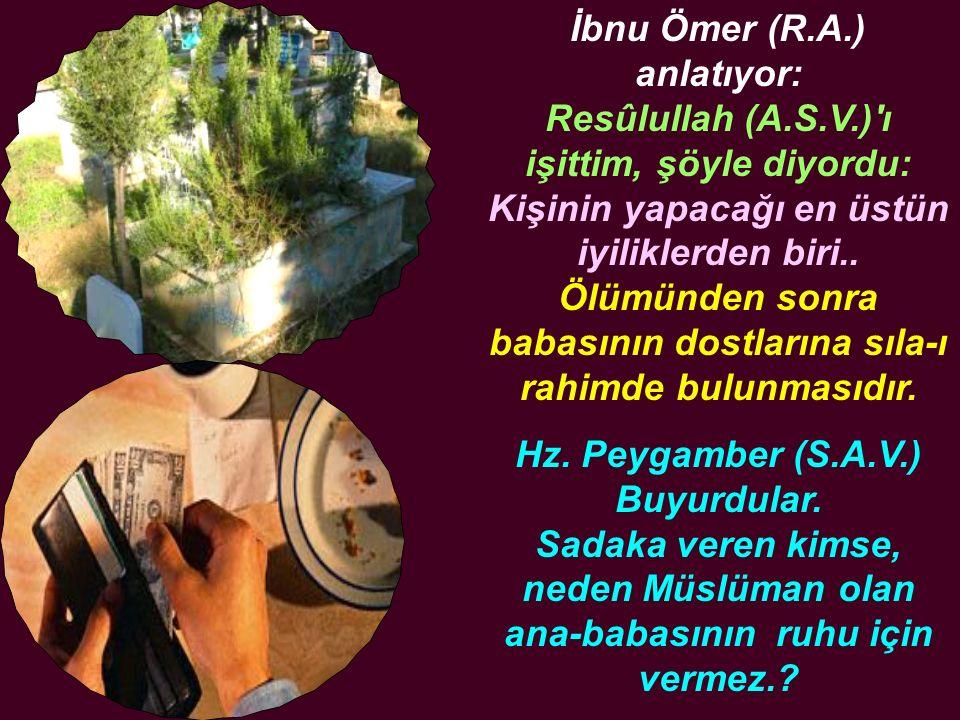 İbnu Ömer (R.A.) anlatıyor: Resûlullah (A.S.V.)'ı işittim, şöyle diyordu: Kişinin yapacağı en üstün iyiliklerden biri.. Ölümünden sonra babasının dost