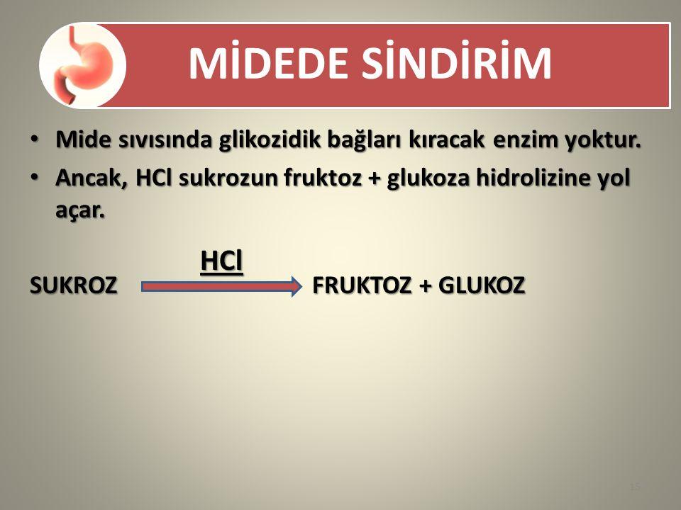 MİDEDE SİNDİRİM Mide sıvısında glikozidik bağları kıracak enzim yoktur. Mide sıvısında glikozidik bağları kıracak enzim yoktur. Ancak, HCl sukrozun fr