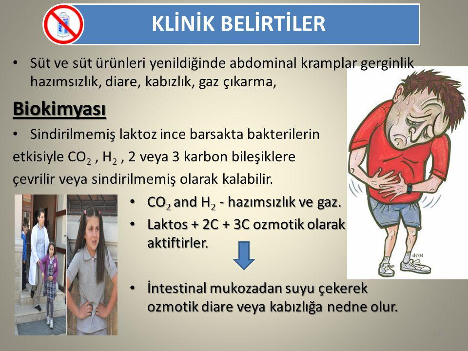 KLİNİK BELİRTİLER CO 2 and H 2 - hazımsızlık ve gaz. CO 2 and H 2 - hazımsızlık ve gaz. Laktos + 2C + 3C ozmotik olarak aktiftirler. Laktos + 2C + 3C