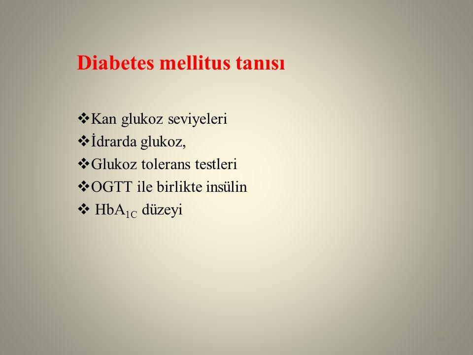 Diabetes mellitus tanısı  Kan glukoz seviyeleri  İdrarda glukoz,  Glukoz tolerans testleri  OGTT ile birlikte insülin  HbA 1C düzeyi 64