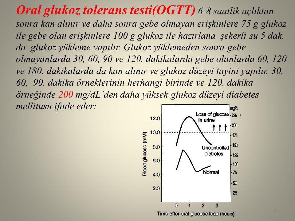 Oral glukoz tolerans testi(OGTT) 6-8 saatlik açlıktan sonra kan alınır ve daha sonra gebe olmayan erişkinlere 75 g glukoz ile gebe olan erişkinlere 10