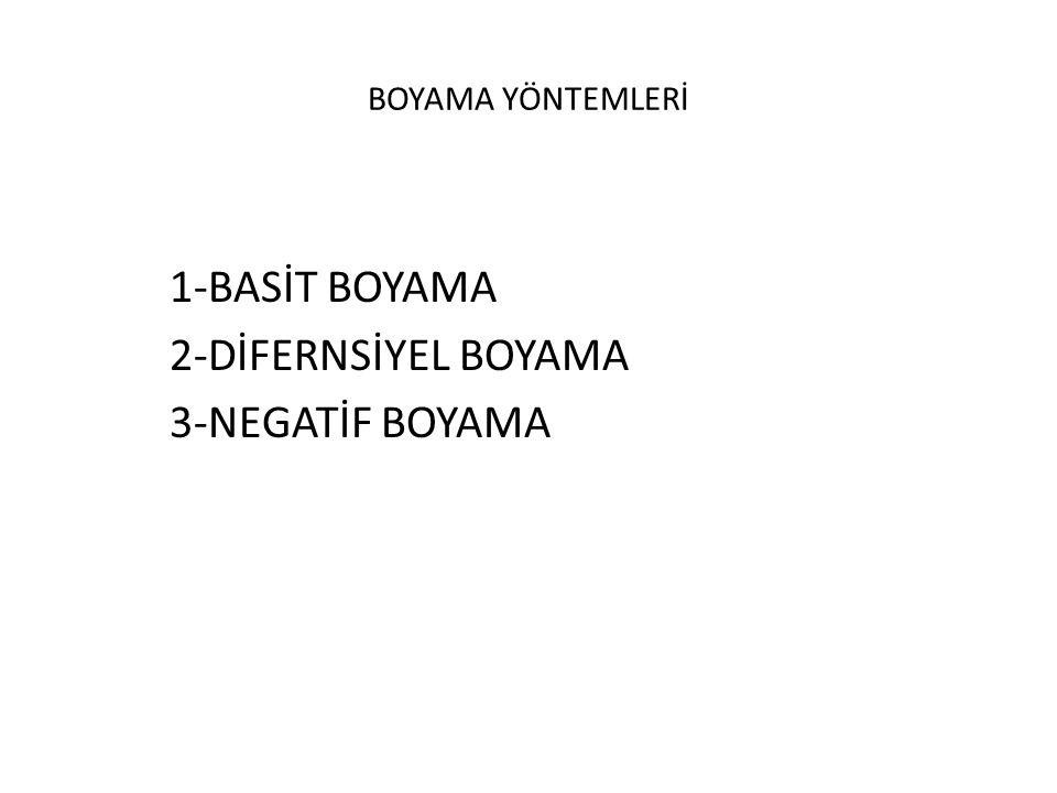 BOYAMA YÖNTEMLERİ 1-BASİT BOYAMA 2-DİFERNSİYEL BOYAMA 3-NEGATİF BOYAMA