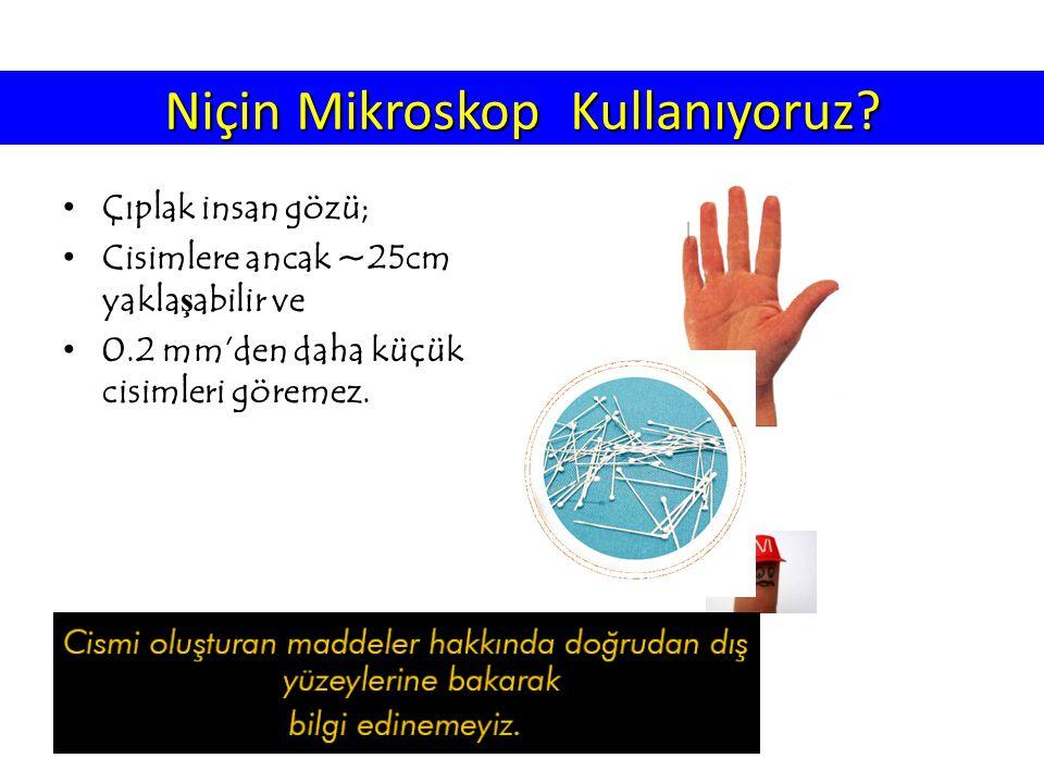 Niçin Mikroskop Kullanıyoruz? Çıplak insan gözü; Cisimlere ancak ~25cm yakla ş abilir ve 0.2 mm'den daha küçük cisimleri göremez.
