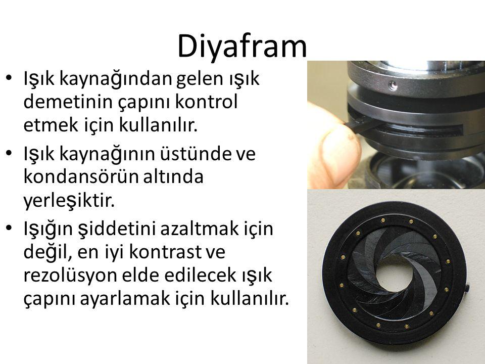 Diyafram I ş ık kayna ğ ından gelen ı ş ık demetinin çapını kontrol etmek için kullanılır. I ş ık kayna ğ ının üstünde ve kondansörün altında yerle ş