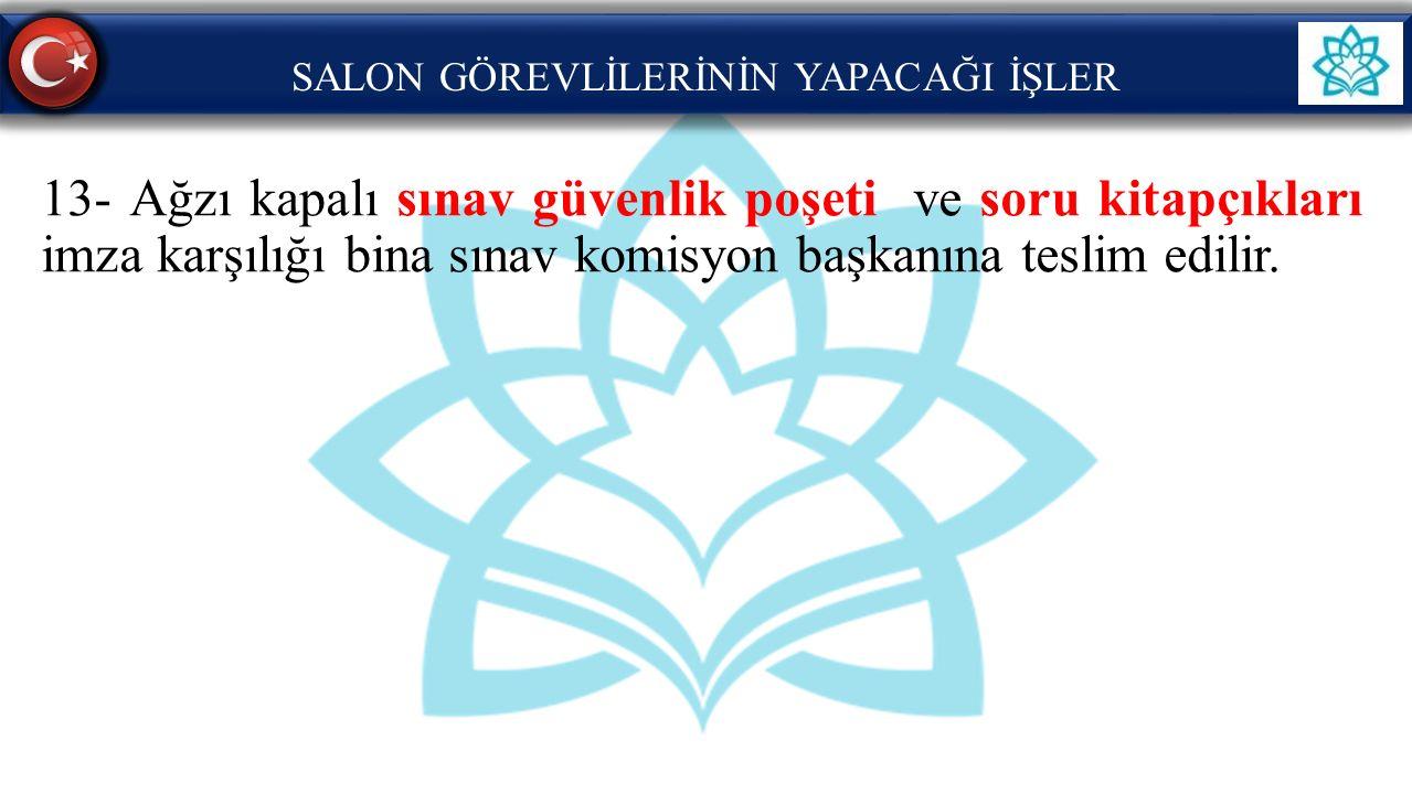 SALON GÖREVLİLERİNİN YAPACAĞI İŞLER 13- Ağzı kapalı sınav güvenlik poşeti ve soru kitapçıkları imza karşılığı bina sınav komisyon başkanına teslim edi