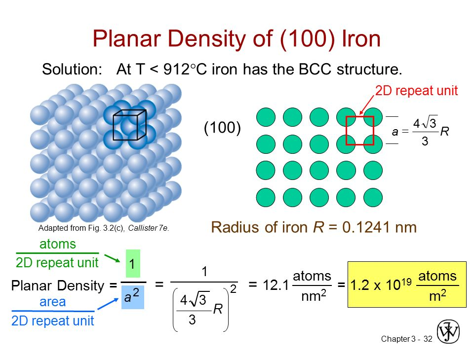 Chapter 3 -32 Planar Density of (100) Iron Solution: At T < 912  C iron has the BCC structure. (100) Radius of iron R = 0.1241 nm R 3 34 a  Adapted