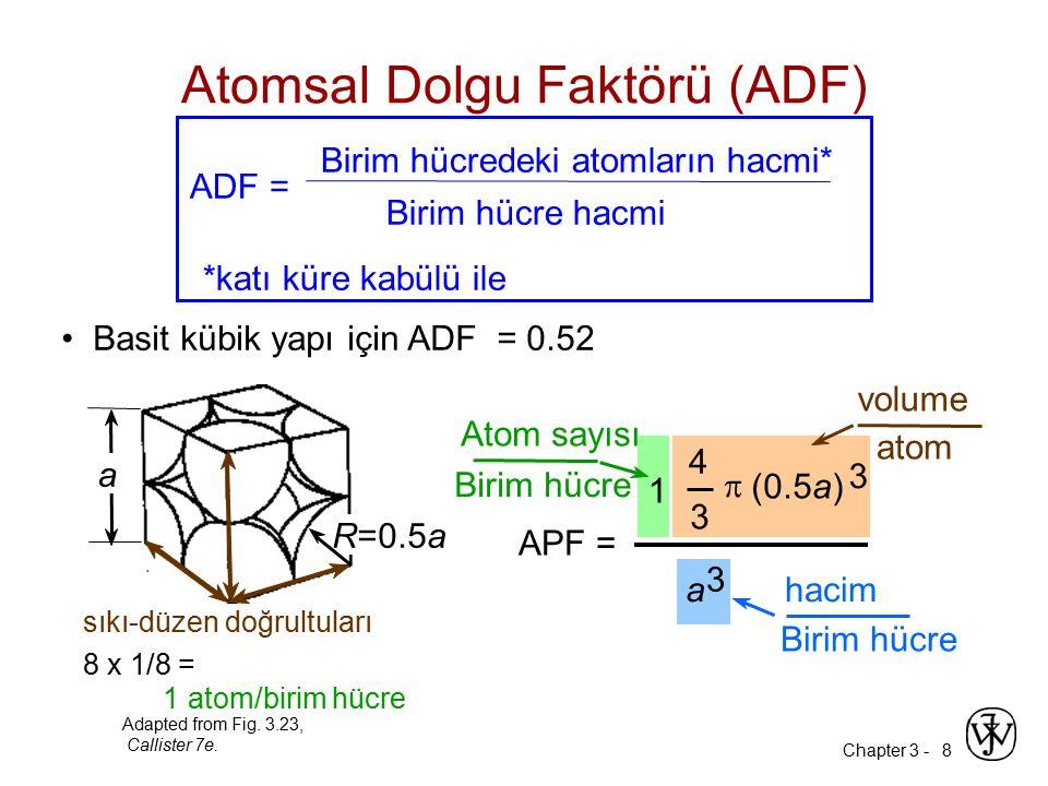 Chapter 3 -8 Basit kübik yapı için ADF = 0.52 APF = a 3 4 3  (0.5a) 3 1 Atom sayısı Birim hücre atom volume Birim hücre hacim Atomsal Dolgu Faktörü (ADF) ADF = Birim hücredeki atomların hacmi* Birim hücre hacmi *katı küre kabülü ile Adapted from Fig.