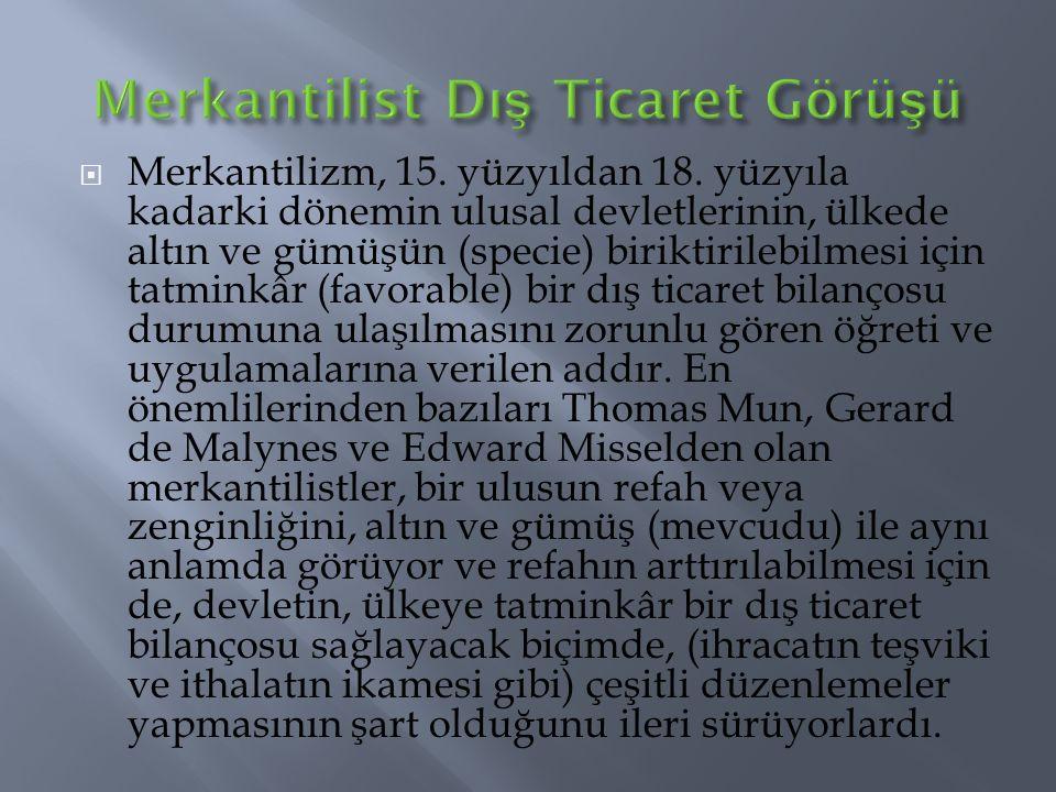  Merkantilizm, 15.yüzyıldan 18.