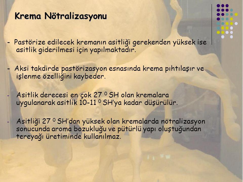 Krema Nötralizasyonu - Pastörize edilecek kremanın asitliği gerekenden yüksek ise asitlik giderilmesi için yapılmaktadır. - Aksi takdirde pastörizasyo