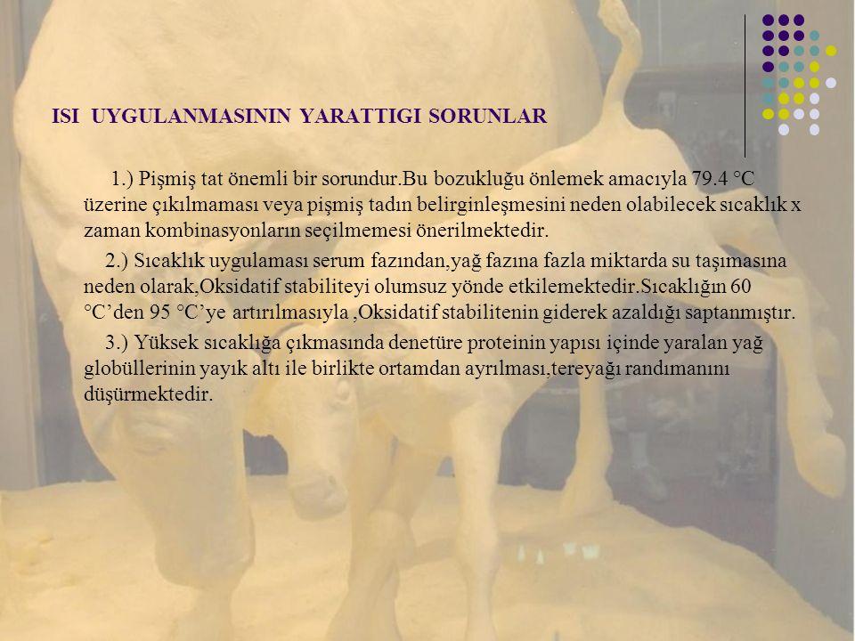 ISI UYGULANMASININ YARATTIGI SORUNLAR 1.) Pişmiş tat önemli bir sorundur.Bu bozukluğu önlemek amacıyla 79.4 °C üzerine çıkılmaması veya pişmiş tadın b