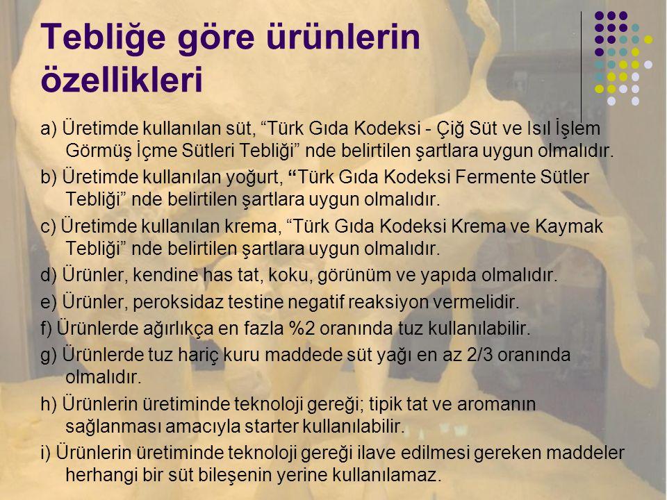 """Tebliğe göre ürünlerin özellikleri a) Üretimde kullanılan süt, """"Türk Gıda Kodeksi - Çiğ Süt ve Isıl İşlem Görmüş İçme Sütleri Tebliği"""" nde belirtilen"""