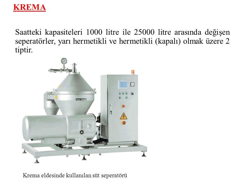 KREMA Saatteki kapasiteleri 1000 litre ile 25000 litre arasında değişen seperatörler, yarı hermetikli ve hermetikli (kapalı) olmak üzere 2 tiptir.