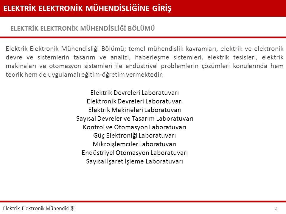 ELEKTRİK ELEKTRONİK MÜHENDİSLİĞİNE GİRİŞ ELEKTRİK ELEKTRONİK MÜHENDİSLİĞİ BÖLÜMÜ 3 Elektrik-Elektronik Mühendisliği 1.