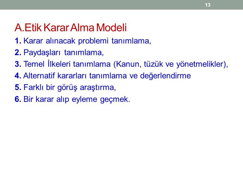 A.Etik Karar Alma Modeli 1. Karar alınacak problemi tanımlama, 2. Paydaşları tanımlama, 3. Temel İlkeleri tanımlama (Kanun, tüzük ve yönetmelikler), 4