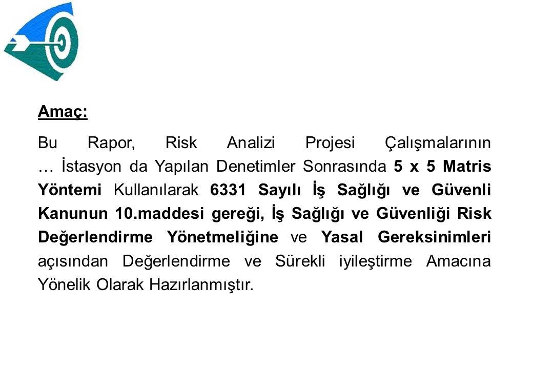 Amaç: Bu Rapor, Risk Analizi Projesi Çalışmalarının … İstasyon da Yapılan Denetimler Sonrasında 5 x 5 Matris Yöntemi Kullanılarak 6331 Sayılı İş Sağlı