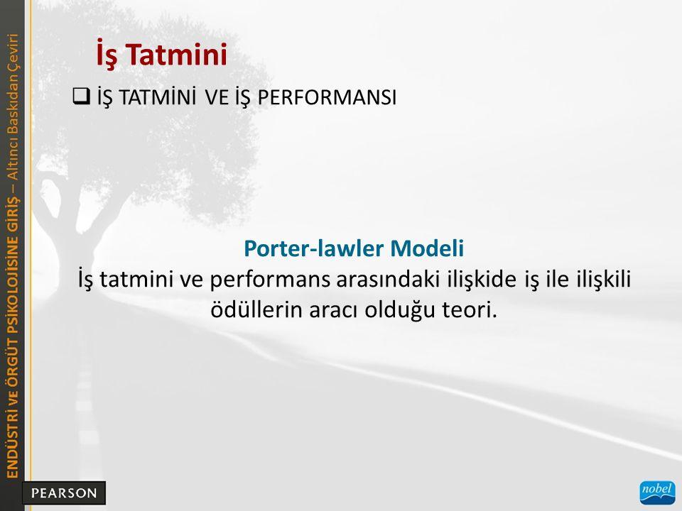 İş Tatmini  İŞ TATMİNİ VE İŞ PERFORMANSI Porter-lawler Modeli İş tatmini ve performans arasındaki ilişkide iş ile ilişkili ödüllerin aracı olduğu teo