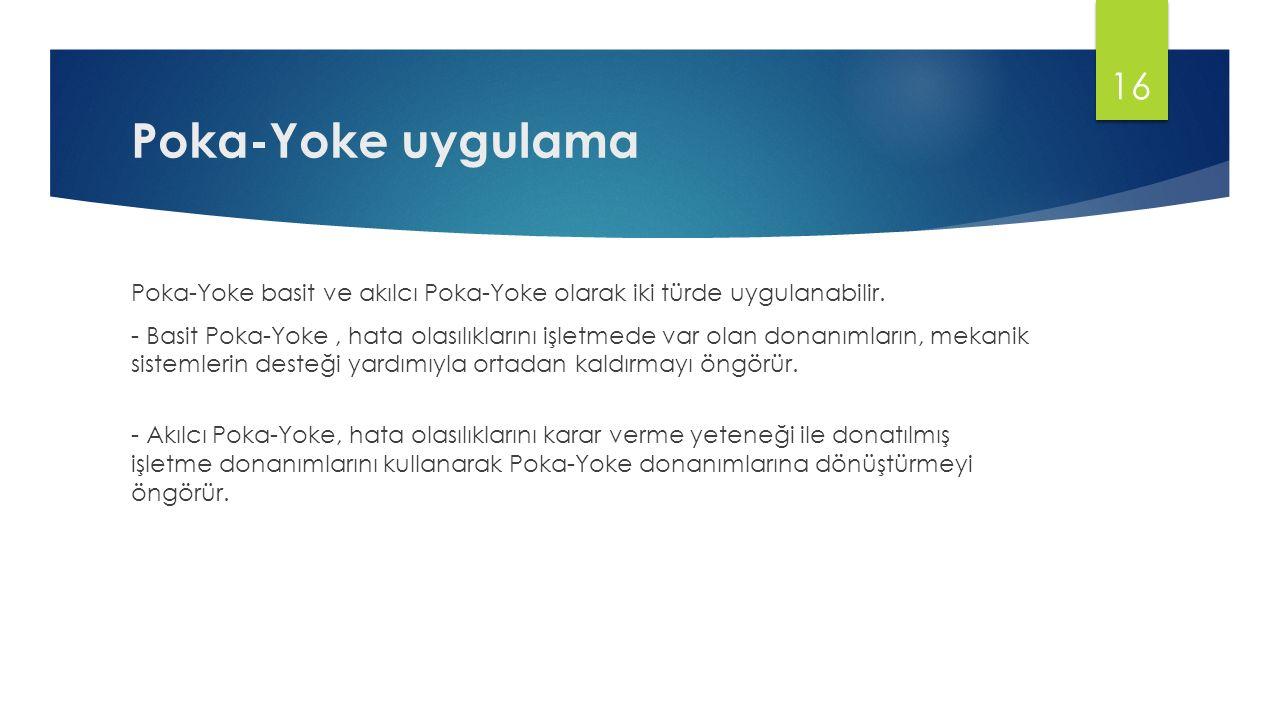 Poka-Yoke uygulama Poka-Yoke basit ve akılcı Poka-Yoke olarak iki türde uygulanabilir. - Basit Poka-Yoke, hata olasılıklarını işletmede var olan donan