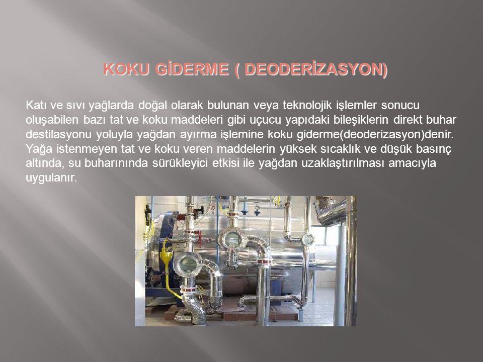 KOKU GİDERME ( DEODERİZASYON) Katı ve sıvı yağlarda doğal olarak bulunan veya teknolojik işlemler sonucu oluşabilen bazı tat ve koku maddeleri gibi uç