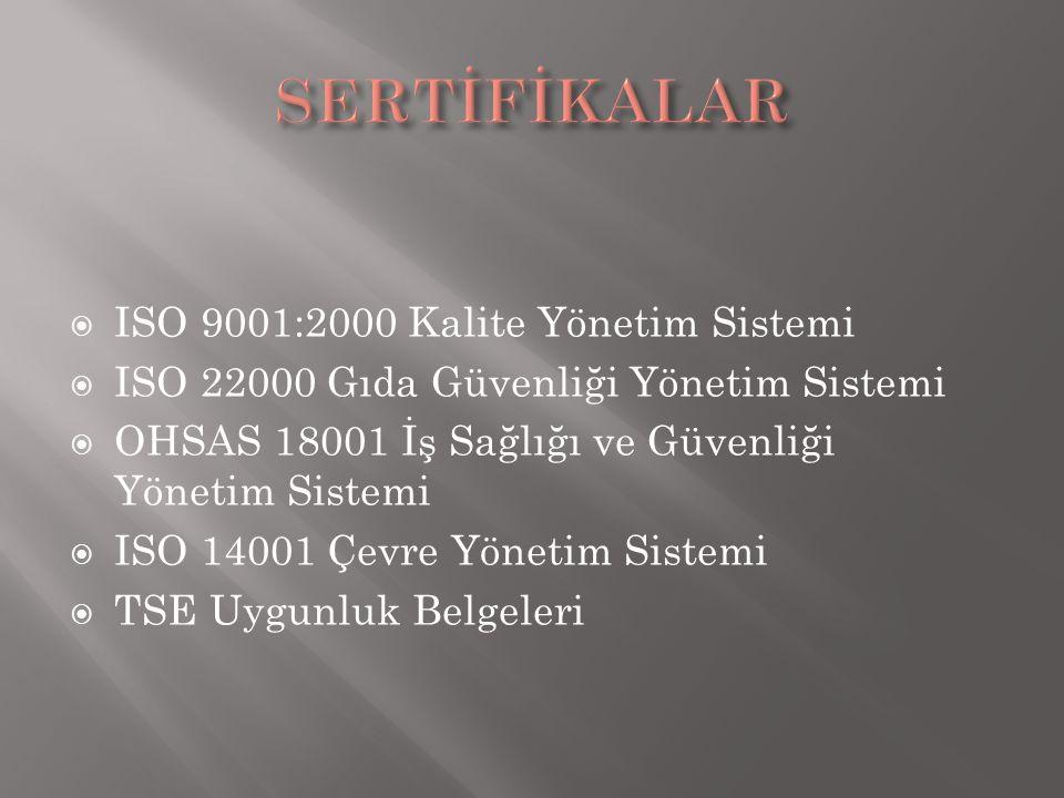  ISO 9001:2000 Kalite Yönetim Sistemi  ISO 22000 Gıda Güvenliği Yönetim Sistemi  OHSAS 18001 İş Sağlığı ve Güvenliği Yönetim Sistemi  ISO 14001 Çe