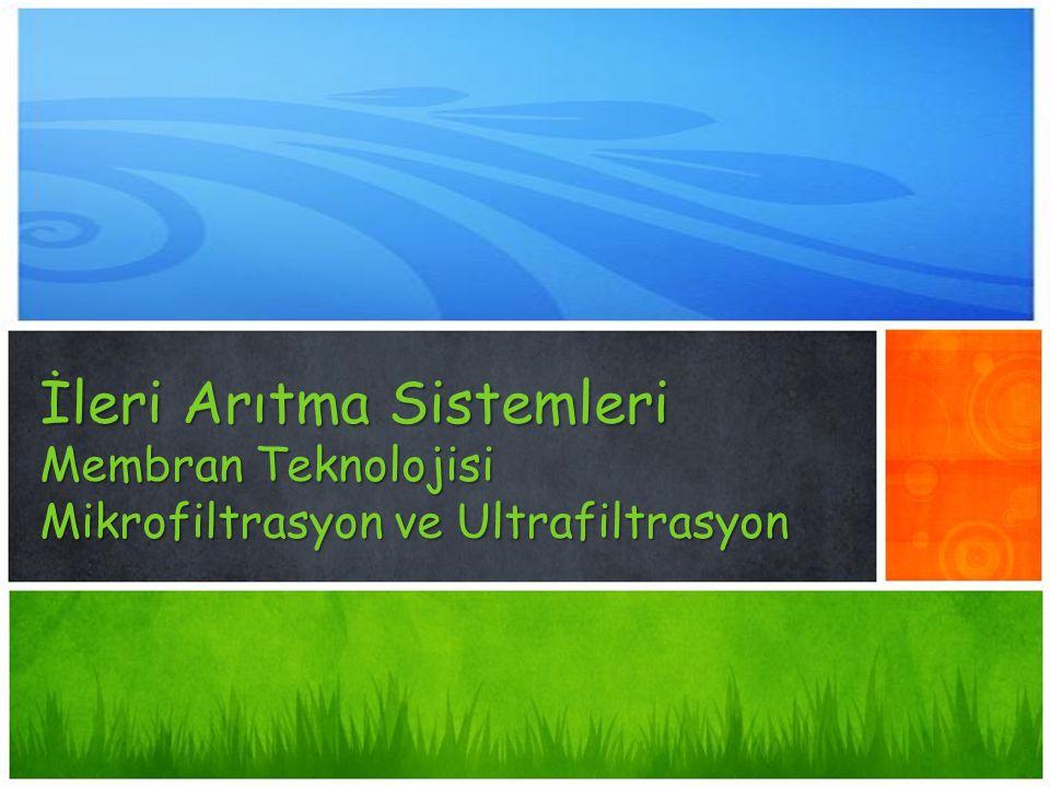 İçindekiler 1.Membran Teknolojisi 2.Membran Sistemler 2.1.Belli Başlı Membran Prosesi Uygulama Alanları 2.2.Membran Çeşitleri 3.Membranların sınıflandırılması 4.Mikrofiltrasyon ve Ultrafiltrasyon 4.1.Mikrofiltrasyon 4.1.Mikrofiltrasyon Membran Tipleri 4.1.1.