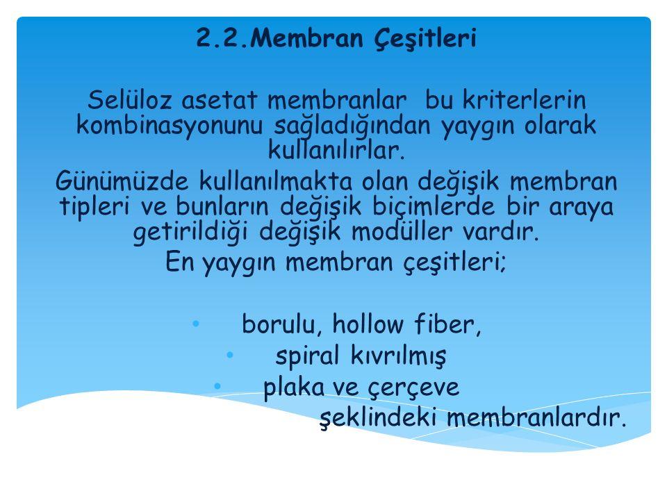 2.2.Membran Çeşitleri Selüloz asetat membranlar bu kriterlerin kombinasyonunu sağladığından yaygın olarak kullanılırlar. Günümüzde kullanılmakta olan