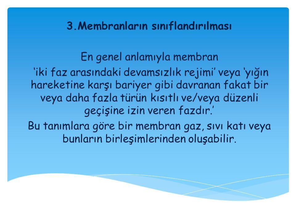 3.Membranların sınıflandırılması En genel anlamıyla membran 'iki faz arasındaki devamsızlık rejimi' veya 'yığın hareketine karşı bariyer gibi davranan