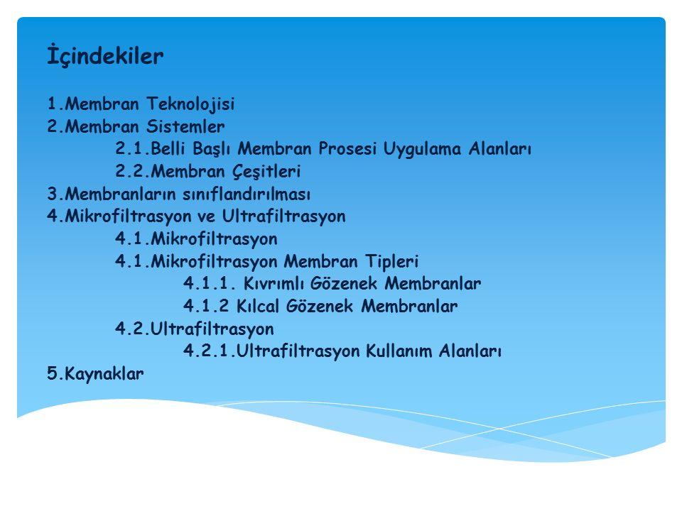 İçindekiler 1.Membran Teknolojisi 2.Membran Sistemler 2.1.Belli Başlı Membran Prosesi Uygulama Alanları 2.2.Membran Çeşitleri 3.Membranların sınıfland