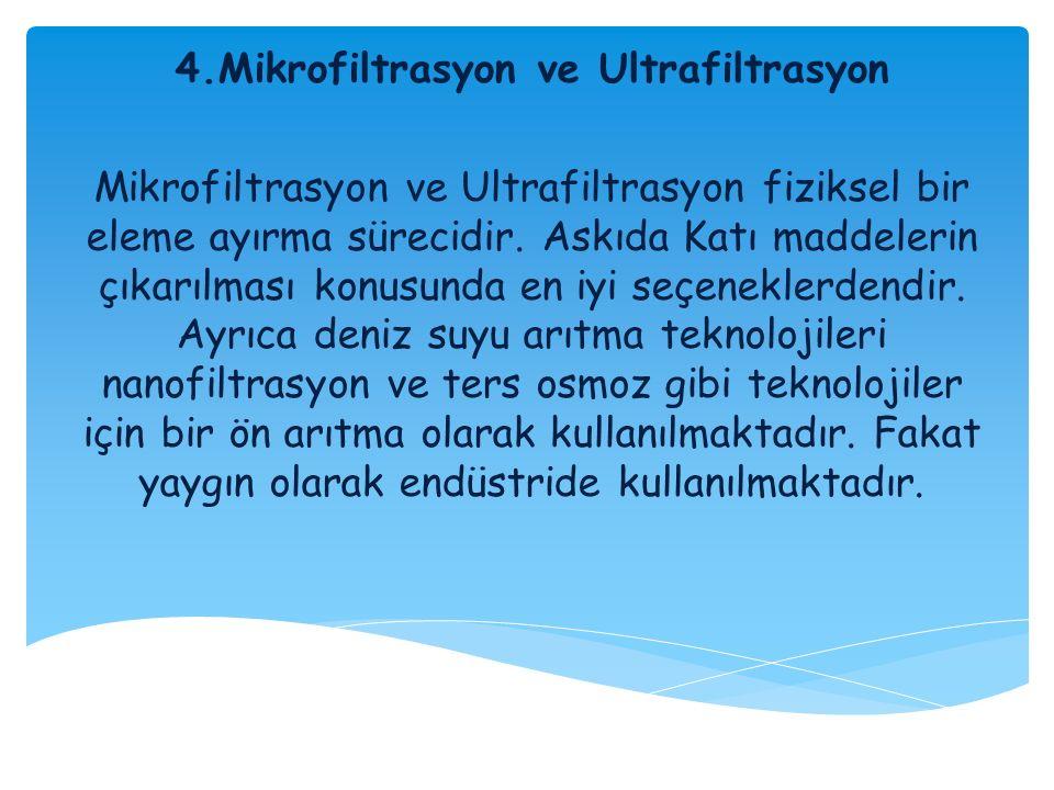 4.Mikrofiltrasyon ve Ultrafiltrasyon Mikrofiltrasyon ve Ultrafiltrasyon fiziksel bir eleme ayırma sürecidir. Askıda Katı maddelerin çıkarılması konusu