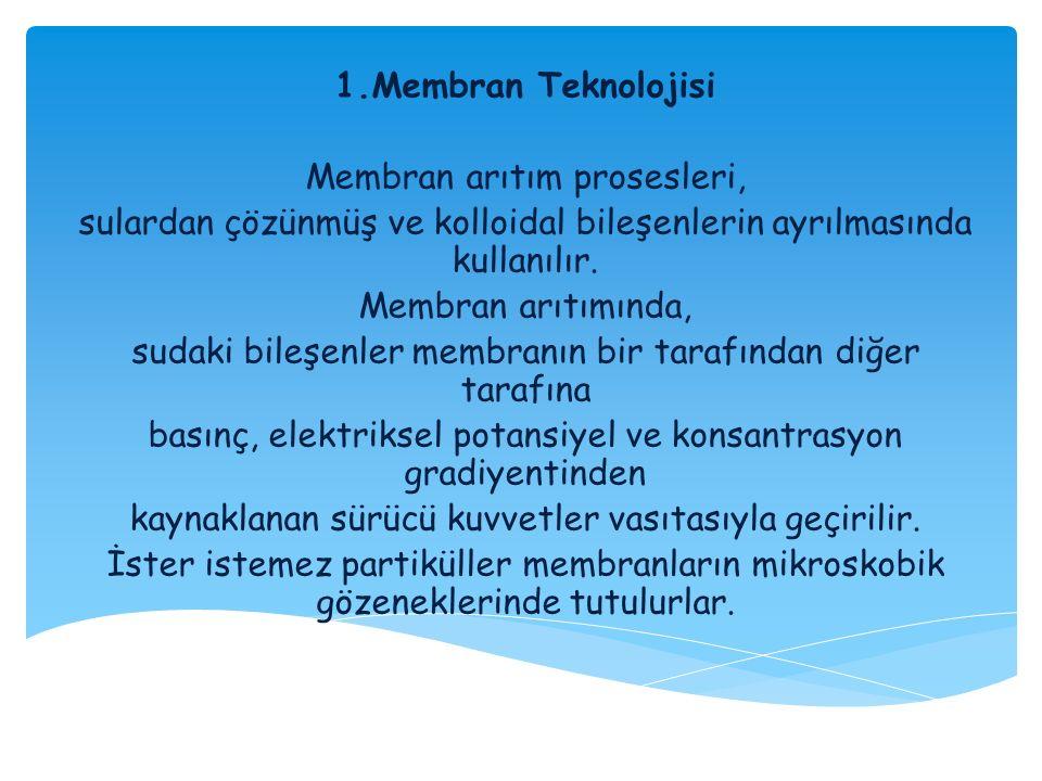 1.Membran Teknolojisi Membran arıtım prosesleri, sulardan çözünmüş ve kolloidal bileşenlerin ayrılmasında kullanılır. Membran arıtımında, sudaki bileş