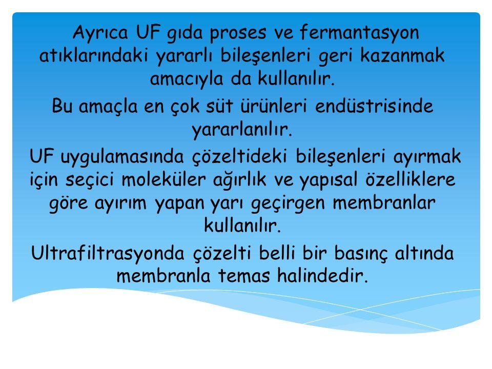 Ayrıca UF gıda proses ve fermantasyon atıklarındaki yararlı bileşenleri geri kazanmak amacıyla da kullanılır. Bu amaçla en çok süt ürünleri endüstrisi
